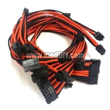XFX Pro Series Single Sleeved Power Supply Modular Cables Set (Black/Orange)