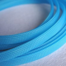 Deluxe High Density Weave UV Light Blue Cable Sleeve (10mm)