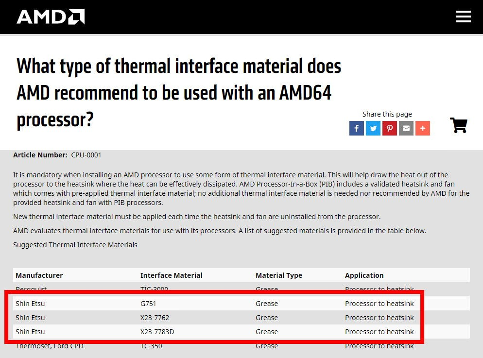 What type of thermal interface material does AMD recommend to be used with an AMD64 processor?