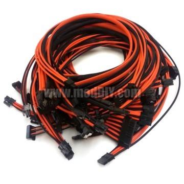 Corsair AX1200 Premium Single Braid Modular Cables Complete Set (Black/Orange)