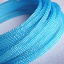 Deluxe High Density Weave UV Light Blue Cable Sleeve (6mm)