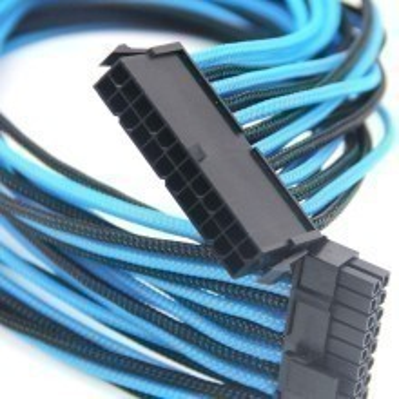 Premium Single Braid Sleeved 24-Pin (20+4) Extension Cable (Black/UV Light Blue)
