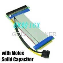 PCI-Express PCI-E 8X to 16X Riser Card Flexible Ribbon Extender Cable w/Molex + Solid Capacitor