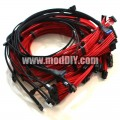 Seasonic/Corsair Single Sleeved Power Supply Modular Complete Cables Set (Black/Red)