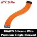 Premium Silicone Wire Single Sleeved 24 Pin ATX Main Power Extension Cable (Orange)