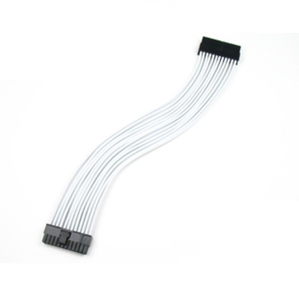 premium silicone wire single sleeved 24 pin atx main power extension cable  white