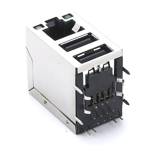 RJ45 Dual USB With RJ45 Plug Socket Combo PCB Panel Mount