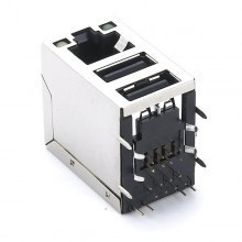RJ45 Dual USB Connector with RJ45 Plug Socket Combo USB Jack Adapter, PCB Panel Mount-or Wall-type
