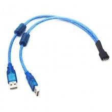 USB 9-Pin Internal Motherboard Male Header to Dual USB Type-A Adaptor