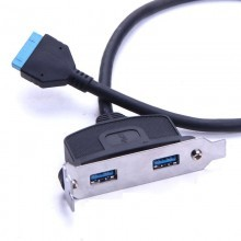 USB 3.0 2-Port Low-Profile Bracket with Built-in Motherboard 20-Pin Header Cable (45cm)