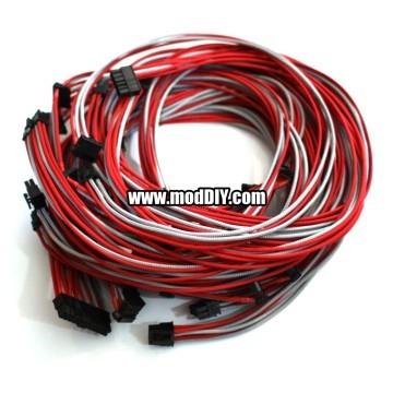 Seasonic Power Supply Custom Single Sleeved Modular Cables (Grey-Silver/Red)