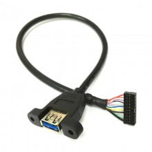 USB 3.0 20-Pin Female Low Profile to USB 3.0 Type-A Panel Mount Cable