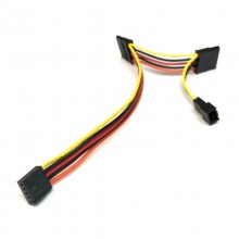2.54mm 5-Pin Female to 2x SATA + 3-Pin Fan Power Cable Adapter