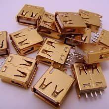 Gold Plated USB Type-A 4-Pin Female Connector