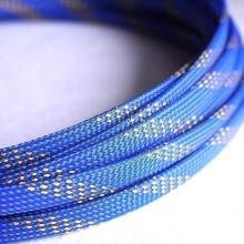 Deluxe High Density Weave Blue/Gold Cable Sleeve (10mm)