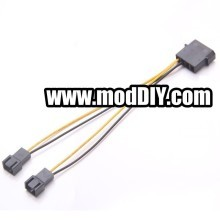 4-Pin Molex to Dual 3-Pin Fan Cable Adapter (15cm)