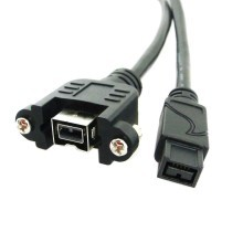 Firewire 800 1394B 9-Pin DV Extension Cable with Panel Mounts (30cm)