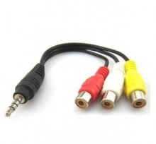 3.5mm Audio Phono Jack Male to 3 x Female RCA AV Adapter (15cm)