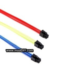 Ultra Soft RGB Cotton Single Sleeved Power Extension Cable 4 Pin CPU