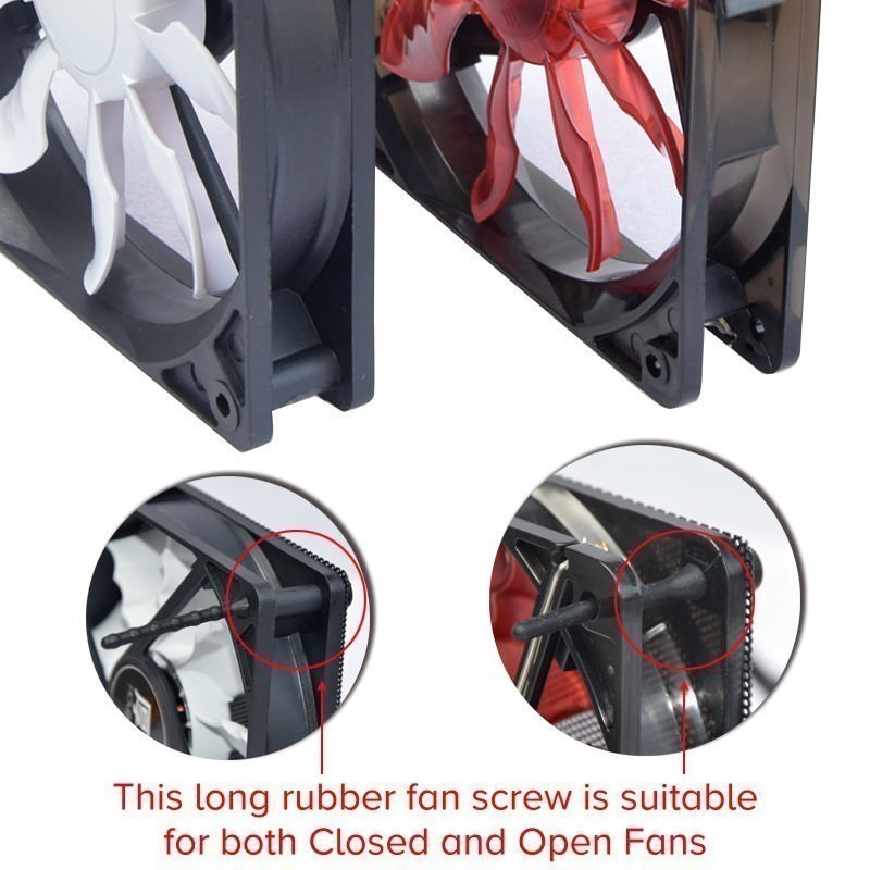 Long Rubber Anti Vibration Screws for Open and Closed Chassis Fans