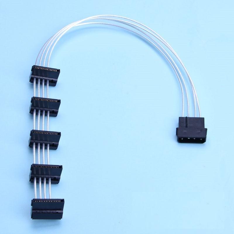 Premium Silver Wire Sata Power Cable 40cm 1x Molex To 5x