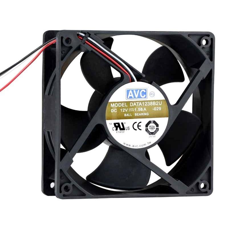 AVC 120mm x 38mm 3 Wire Ball Bearing Ultra Silent Fan (DATA1238B2U)
