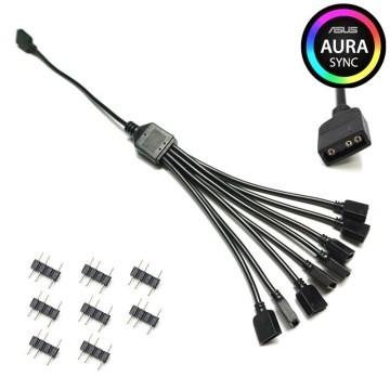 Computer Lighting 5V 3 Pin RGB Splitter Cable 1 to 8 Way Split 30cm