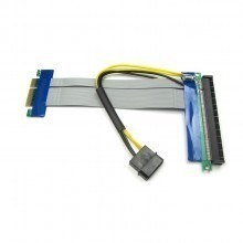 PCI-Express PCI-E 4X to 16X Riser Card Flexible Ribbon Extender Cable w/Molex + Solid Capacitor