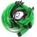 Seasonic Single Sleeved Power Supply Modular Complete Cables Set (UV Green / Black)