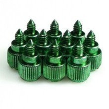 M3.5 Easy Grip Anodized Aluminum Thumbscrew - Green (4 Pack)