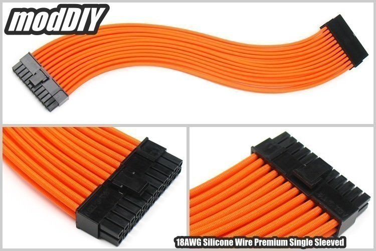 Premium Silicone Wire Single Sleeved 24 Pin Atx Main Power