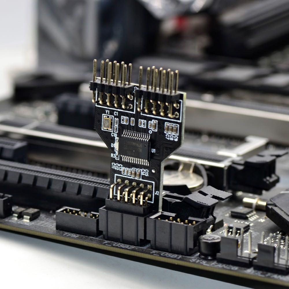 USB 2.0 Motherboard Header 9 Pin Internal USB Hub 2 Port Splitter