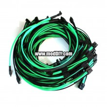 EVGA SuperNOVA 1600 G2 Premium Sleeved Modular Cables Complete Set (Black/UV-Green)