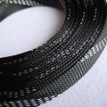 Deluxe High Density Weave Black/Silver Cable Sleeve (18mm)