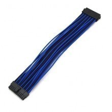 Premium Single Braid Sleeved 24-Pin (20+4) Extension Cable (Black/Blue)