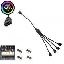Computer Lighting 12V 4 Pin RGB Splitter Cable 1 to 4 Way Split 30cm