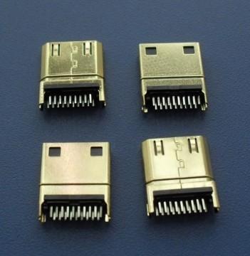 Premium Gold Plated Mini HDMI 19P 1.0mm Male Connector