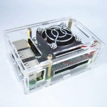 Raspberry Pi - Model B+ Enclosure Case Box with Cooling Fan (Transparent)