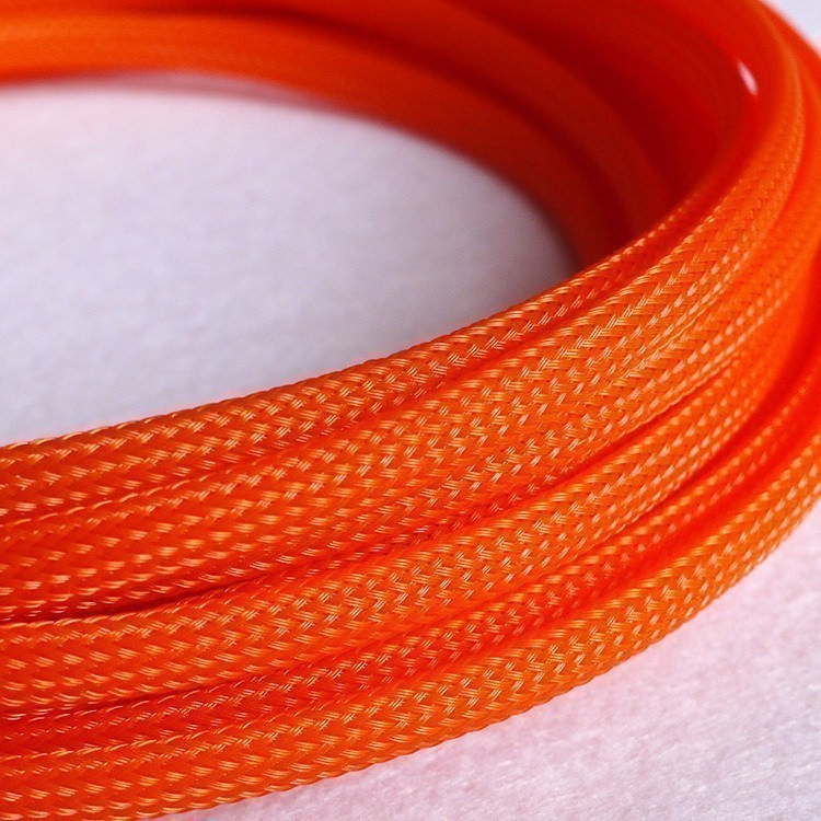 Deluxe High Density Weave Orange Cable Sleeve 6mm