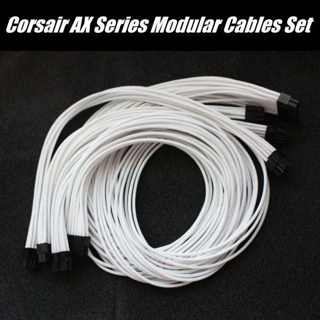 Corsair AX860i Premium Single Sleeved Modular Cables Set (White ...