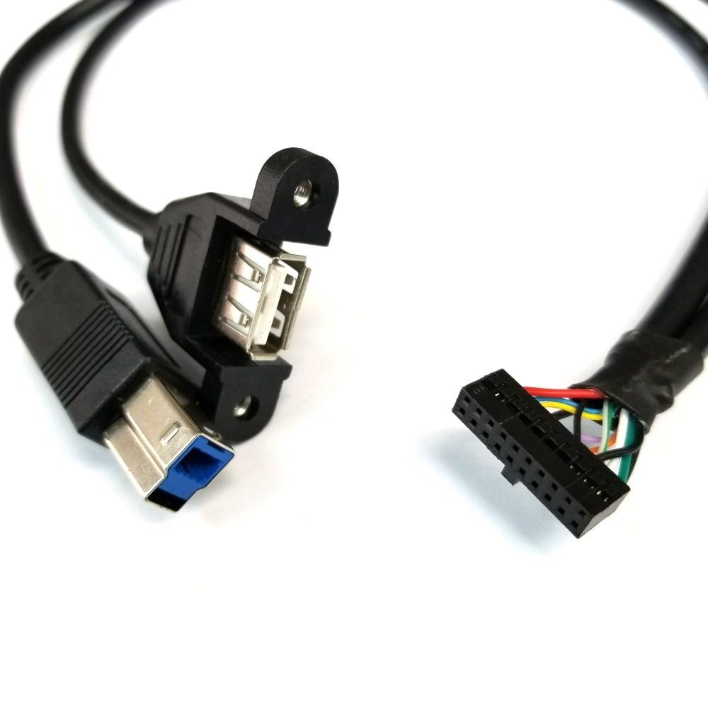 20-Pin USB 3.0 Internal Header to USB 3.0 Type-B + USB 2.0 Type-A