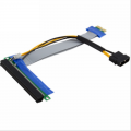 PCI-Express PCI-E 1X to 16X Riser Card Flexible Ribbon Extender Cable w/Molex + Solid Capacitor