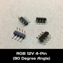 RGB 12V LED Light Strip 4 Pin Male to Male 90 Degree Angled Connector