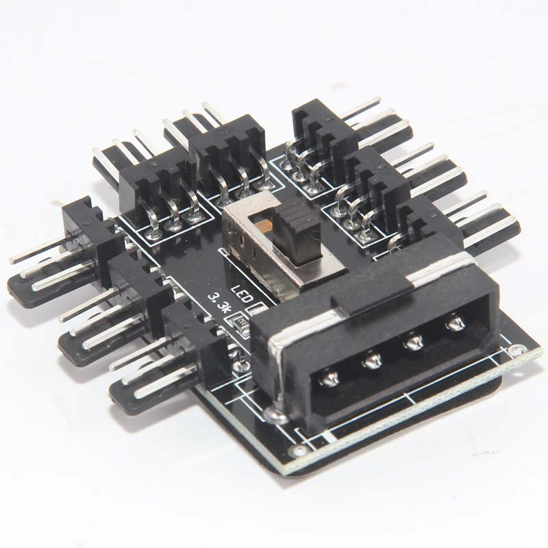 8 Way 3 Pin 4 Pin Micro Fan PWM Speed Controller Hub Molex Powered