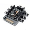 8-Way 3-Pin /4-Pin Micro Fan PWM Speed Controller Hub (SATA Powered)
