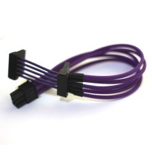 Single Sleeved Power Supply Modular Cable 6-Pin to Dual SATA - Purple