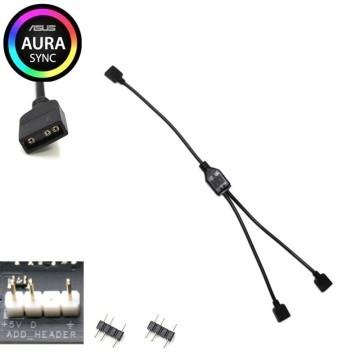Computer Lighting 5V 3 Pin RGB Splitter Cable 1 to 2 Way Split 30cm