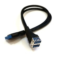 USB 3.0 19-Pin to Dual USB Type-A Female Front Panel Cable (40cm)