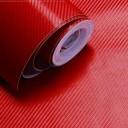 Red Carbon Fibre Sticker 3D Matt Dry Vinyl with Texture