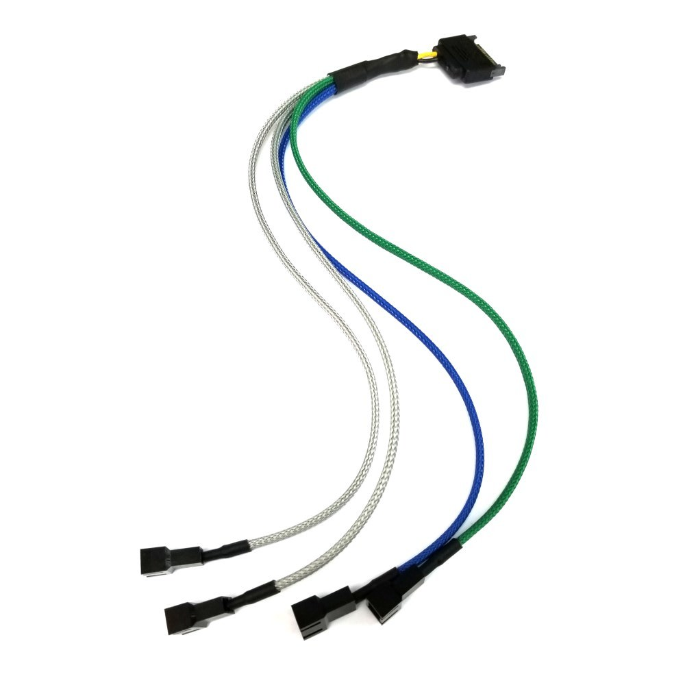 Sata Power To 4 X 3 Pin Computer Fan Multi Color Sleeved Adapter 3pin 2pin Y Cable Splitter Extension Wire On Product Description